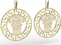 "Ancient Greece ""Ionic Column"" Sterling Silver hallmark 925 Earrings ,Gold Plated"