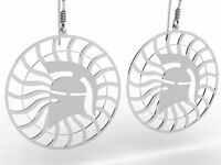 Ancient Greece Corinthian Helmet Sterling Silver 925 Dangling Earrings , NEW