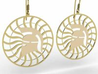 Ancient Greece Corinthian Helmet Sterling Silver 925 Earrings , Gold Plated ,NEW