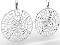 Ancient Greece Meander Meandros Sterling Silver 925 Dangling Earrings , NEW
