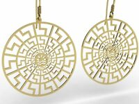 Ancient Greece Meander Meandros Sterling Silver 925 Earrings , Gold Plated ,NEW