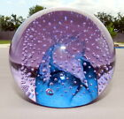 VTG C. G. CAITHNESS ART GLASS PAPERWEIGHT LAVENDER/PURPLE/BLUE CONTROLLED BUBBLE