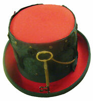 Steampunk/victorian Red top hat with black brocade sleeve with key