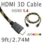9' feet Premium High Speed HDMI 1.4 3D CABLE PS3 HDTV Blu-ray Sony Samsung LG