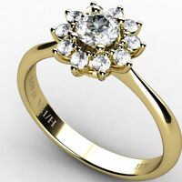 Cluster Diamond Ring 0.50 ct VS1/H Round Brilliant Cut, Ring 18k Yellow Gold NEW