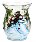 Snowman Holiday Small Pillar Holder Crackle Glass Candle Accessory Home Decor