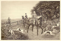"FOXHOUND FOX HUNTING HORSE DOG ART PRINT ""ENGRAVING"" (Large) Hack in the Morning"