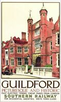 Vintage Southern Railway Guildford Surrey Railway Poster A3 / A2 Reprint