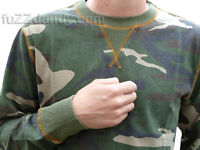 Mens Camouflage top jumper Camo vtg retro indie skate military army xs s m l xl