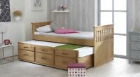 Single Bed Waxed Pine Captain Childrens Storage Underbed Drawers Mattress Option