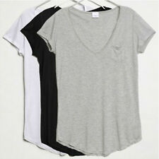 New Women V-Neck Short-sleeved Loose Cotton Trend T-shirt Blouse Tops Size S-4XL