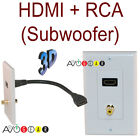 HDMI + Subwoofer (1 RCA) Wall Plate w HDMI 1.4 HD 1080p 3D ARC 24K Gold. White