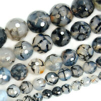 "Faceted Black Fire Agate Round Gemstone Beads 15"" 6mm 8mm 10mm 12mm 14mm"