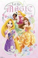 DISNEY PRINCESS POSTER ~ LET MAGIC BEGIN 22x34 Tiana Sleeping Beauty Rapunzel