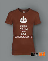 LADIES KEEP CALM AND EAT CHOCOLATE NOVELTY GIFT BNWT T SHIRT NEW SIZE 8-16