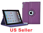 Purple 360 Degree Rotating PU Leather Case Protector Stand for Apple Ipad 2 / 3