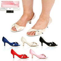 NEW WOMENS LADIES SATIN LOW HEEL WEDDING PROM BRIDAL EVENING SHOES SIZE 3-8 H179