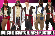 MENS PIRATE FANCY DRESS HIGH SEAS CAPTAIN COSTUMES STAG NIGHT PARTY M L XL