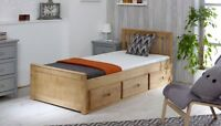 Childrens 3ft Single Waxed Pine Mission Storage Bed with Drawers Mattress Option