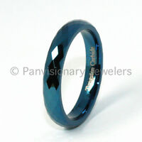 Tungsten Carbide Ring 4MM Blue IP Faceted Wedding Band Pinky or Thumb Ring