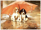 "BEAGLE FOXHOUND PUPPY PUPPIES DOG FINE ART PRINT - ""Under the Weather"" W H Trood"
