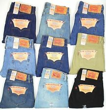 Levis 501 Button Fly Mens Jeans Original Dark Blue, Black, Tan, Many Sizes NEW!