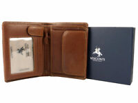 Mens VICENZA ITALIAN Leather Wallet in TAN by VISCONTI Gift Boxed NEW Sylish