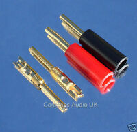 24 GOLD 4mm BANANA PLUGS Solder/Screw Connectors for Speaker Cable