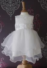 CHRISTENING FLOWERGIRL DRESS WHITE IVORY BABY PARTY WEDDING SATIN & LACE IVY