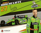 2012 JAMES HINCHCLIFFE signed INDIANAPOLIS 500 PHOTO CARD POSTCARD IZOD INDY CAR