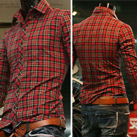 2014 Slim Fit Men's Trendy Formal Business Casual Dress Shirts Tops Checked S~XL