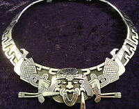 VINTAGE DESIGN TAXCO MEXICAN 950 SILVER NATIVE TRIBAL NECKLACE MEXICO