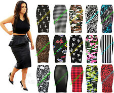 Womens Ladies Printed Pencil Bodycon Stretchy Wiggle Midi Skirt Plus Size 8-30