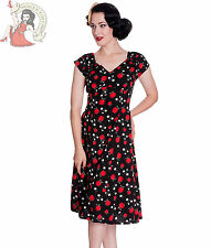 HELL BUNNY 40s SHEILA summer APPLE wartime tea DRESS BLACK