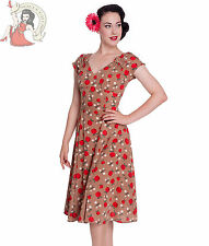 HELL BUNNY 40s SHEILA summer APPLE wartime tea DRESS CARAMEL
