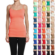MOGAN Long Basic Spaghetti Strap CAMI TANK TOP Layering Plain All Colors S-L