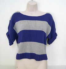 AEROPOSTALE Women's Purple/Gray Striped Cropped Sweater Size S,M NWT