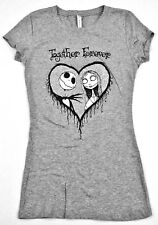 DISNEY Nightmare Before Christmas T-shirt Womens Juniors S-XL Gray Jack Sally