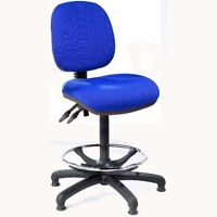 Blue Fabric High Tall Office Swivel Chair Workbench Draughtsman + Feet. No Arms