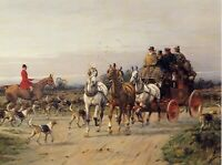 "FOXHOUND FOXHUNTING COACHING HORSE DOG FINE ART PRINT - ""Meeting the Hunt"""