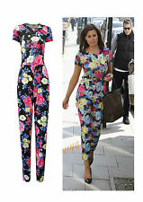 WOMENS CELEB JESSICA WRIGHT FLOWER PRINT POCKET FLORAL JUMPSUIT  SIZE 8-14
