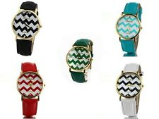 Geneva Platinum Chevron Watch Fashion Leather for Girl's,Watch Quartz.USA