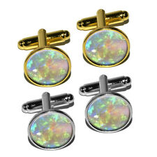 Opal October Birthstone (Image Only) - Faux Resin Round Cufflink Set