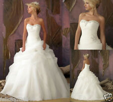 Stock White/Ivory Wedding Dress Bridal Gown Bridesmaid Party SZ:6 8 10 12 14 16