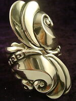 TAXCO MEXICAN STERLING SILVER FLORAL FLOWER CLAMPER BRACELET MEXICO