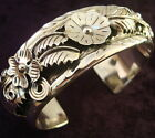 TAXCO MEXICAN 950 SILVER NAVAJO DESIGN FLORAL FLOWER LEAF CUFF BRACELET MEXICO
