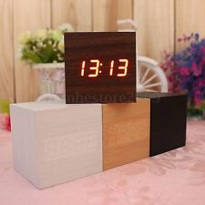 Wood Cube LED Alarm Voice Control  Digital Desk Clock Wooden Thermometer