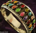 TAXCO MEXICAN STERLING SILVER MULTI INLAY BRACELET MEXICO