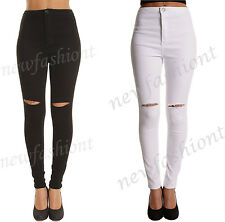 New Women Ladies High Waisted Ripped Knee Cut Skinny Fit Jeans Jeggings 6 to 14