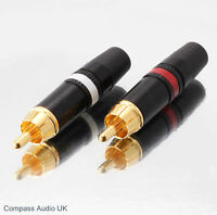 2 NEUTRIK GOLD PHONO RCA PLUGS NYS373 Red/White Professional Connectors REAN